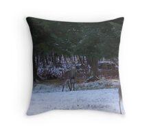 Whitetail Stag & Doe Throw Pillow