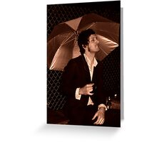 Beer In The Rain Greeting Card
