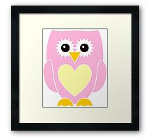 Pink Owl with Yellow Heart Framed Print
