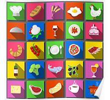 Twenty Five Square Flat Italian Food Icon  Poster