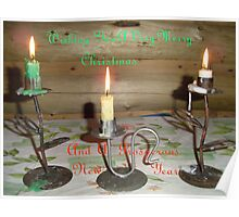 Three Candles Christmas card Poster
