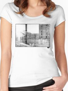 photo fade building Women's Fitted Scoop T-Shirt