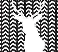 Black and White Silhouette Stag Art by artisanobscure