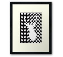 Black and White Silhouette Stag Art Framed Print