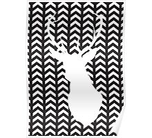 Black and White Silhouette Stag Art Poster