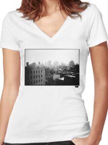 cityscape Women's Fitted V-Neck T-Shirt