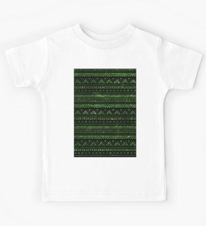 Aztec Black Tinsel Green Kids Tee