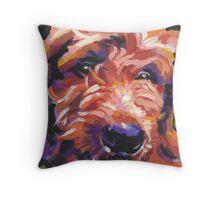 Red Golden Doodle Dog Bright colorful pop dog art Throw Pillow