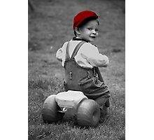Boy in Red Cap Photographic Print