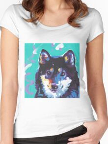 Shiba Inu Bright colorful pop dog art Women's Fitted Scoop T-Shirt
