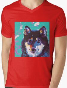 Shiba Inu Bright colorful pop dog art Mens V-Neck T-Shirt