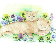 Kittens dozing in pansies by Annartist2015