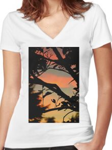 Sunset through the trees Women's Fitted V-Neck T-Shirt