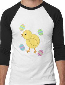 Easter Chick with Easter Eggs Men's Baseball ¾ T-Shirt