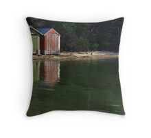 Coles Bay Boatsheds Throw Pillow