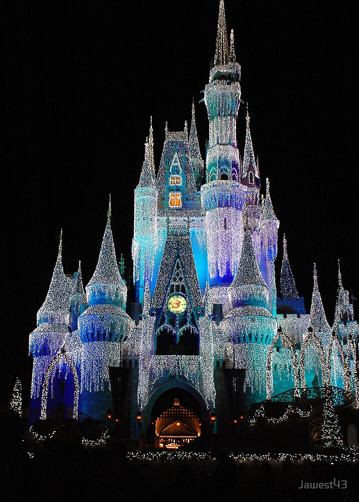 Cinderella'a Castle at Walt Disney World, decorated for the Christmas season by Jawest43