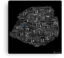 Paris Map typographic underground stations Canvas Print