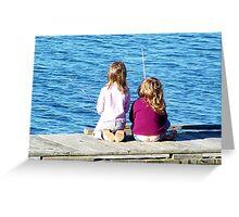 Little Girls Fishing Greeting Card