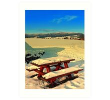 Table and bench in winter scenery | landscape photography Art Print
