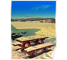 Table and bench in winter scenery | landscape photography Poster