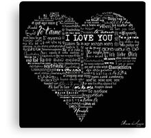 Typographic multi language I love you heart Canvas Print