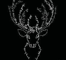 Deer stag antlers typographic by MariondeLauzun