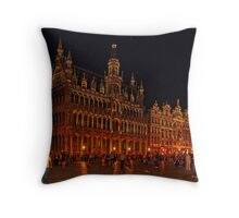 Grand Place at Night, Brussels, Belgium Throw Pillow