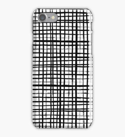Essie - Grid, Black and White, BW, grid, square, paint, design, art iPhone Case/Skin