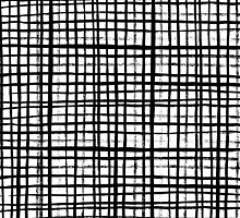 Essie - Grid, Black and White, BW, grid, square, paint, design, art by charlottewinter
