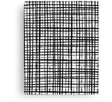 Essie - Grid, Black and White, BW, grid, square, paint, design, art Canvas Print