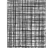 Essie - Grid, Black and White, BW, grid, square, paint, design, art Photographic Print