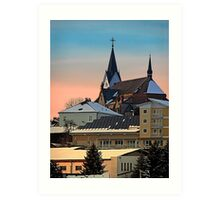 Winter scenery with village skyline | architectural photography Art Print