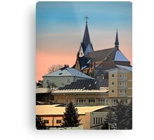 Winter scenery with village skyline | architectural photography Metal Print