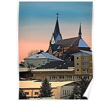 Winter scenery with village skyline | architectural photography Poster
