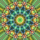 Green Spectral Mandala Abstract by Phil Perkins