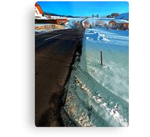 Winter road into far distance | landscape photography Metal Print