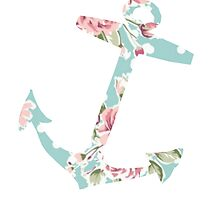 Blue & Pink Vintage Floral Anchor by hellosailortees