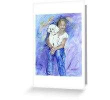 Kelsey and her new dog Mimi Greeting Card