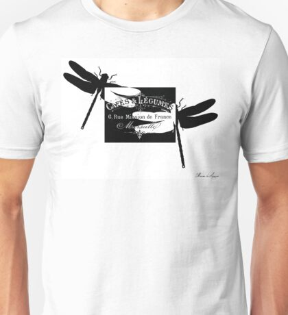 black and white Dragonfly Unisex T-Shirt