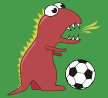 Funny Cartoon Dinosaur Soccer Dark Shirt One Piece - Short Sleeve