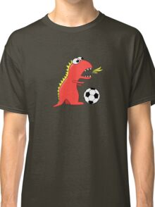 Funny Cartoon Dinosaur Soccer Dark Shirt Classic T-Shirt
