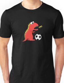 Funny Cartoon Dinosaur Soccer Dark Shirt Unisex T-Shirt