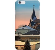 Winter scenery with village skyline | architectural photography iPhone Case/Skin
