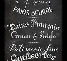 French Boulangerie chalkboard menu by MariondeLauzun