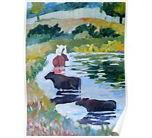 Cows on Linden Pond Poster