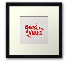 Good Vibes - Red Ink Framed Print