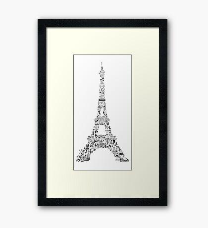 Vintage Eiffel Tower collage Framed Print