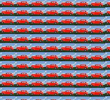 Funky Classic Automobile Collage Art by Barberelli