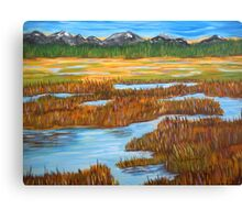 Marshlands landscape painting impressionism art Canvas Print