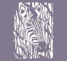 Zebra Project No.1- big logo white print by Alan Hogan